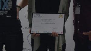 Le prix d'or reçu par Watnowa au Water Tech Hackathon 2018